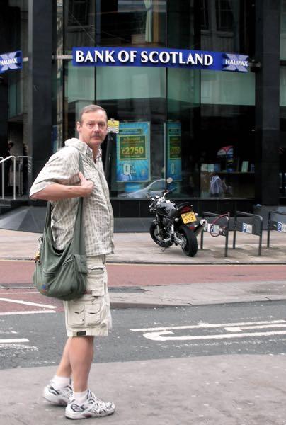 Roy Stevenson outside the Bank of Scotland