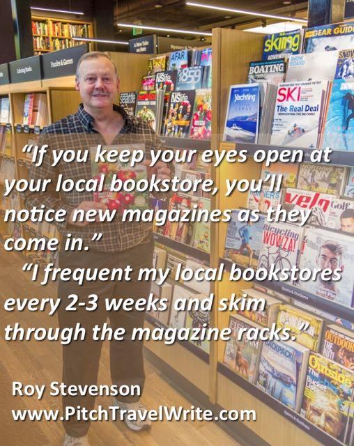 new magazines on bookshelf