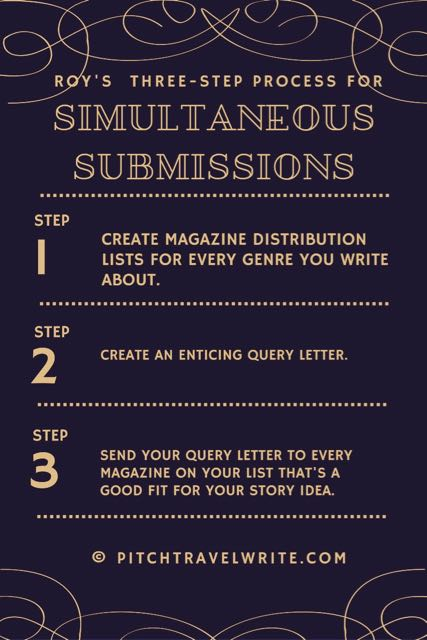 3-step simultaneous submissions process by Roy Stevenson, pitchtravelwrite.com.