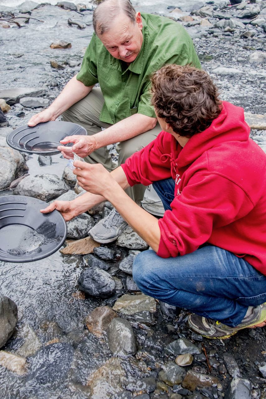 Panning for gold in Alaska