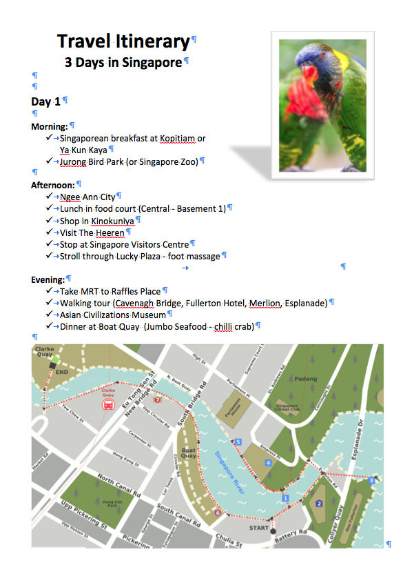 overseas travel itinerary for 3 days in Singapore