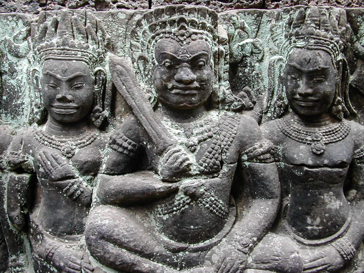 warriors protecting an ancient temple at Angkor Wat