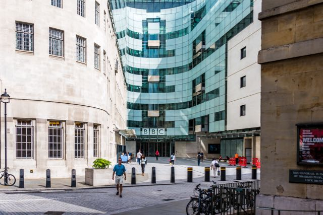 Front entrance of new BBC Headquarters in London, England.