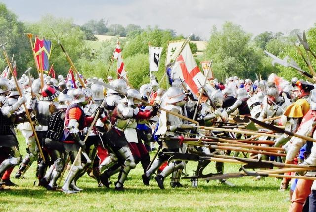 a re-enactment of the Battle of Tewkesbury