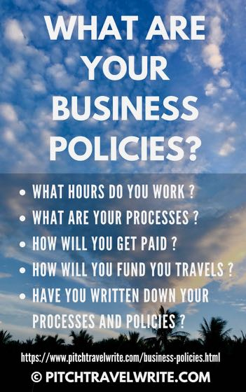 travel writers need business policies for working