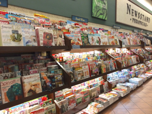 newstand of travel magazines