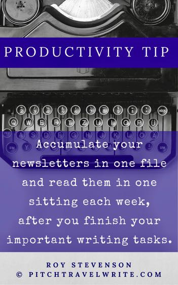 accumulate newsletters and read them in one sitting a week