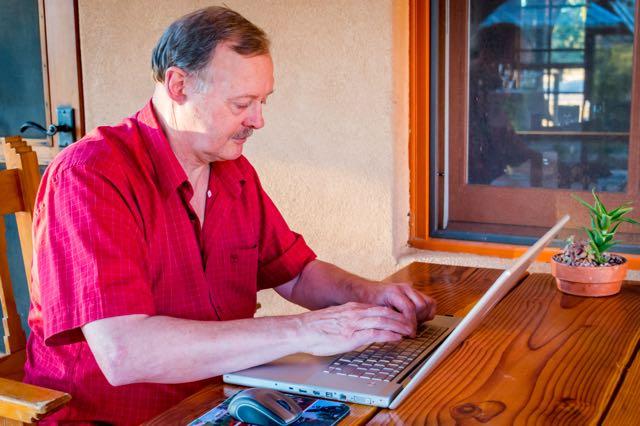 Roy Stevenson writing while on press trip in Arizona.