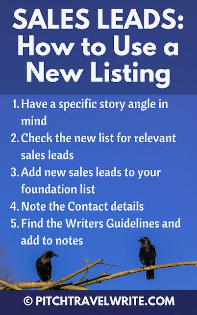 finding lists of sales leads helps you build your list of magazines to pitch