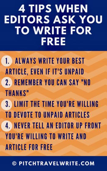 should travel writers write for free - here are four tips