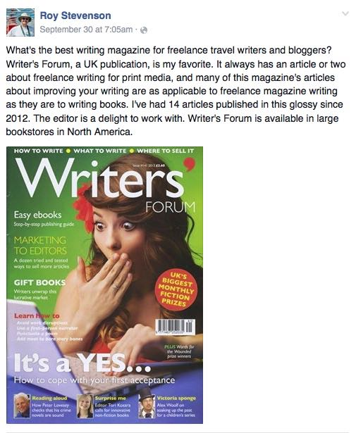 Travel writing and Facebook go hand in hand - you can promote what you're writing and let the world know.