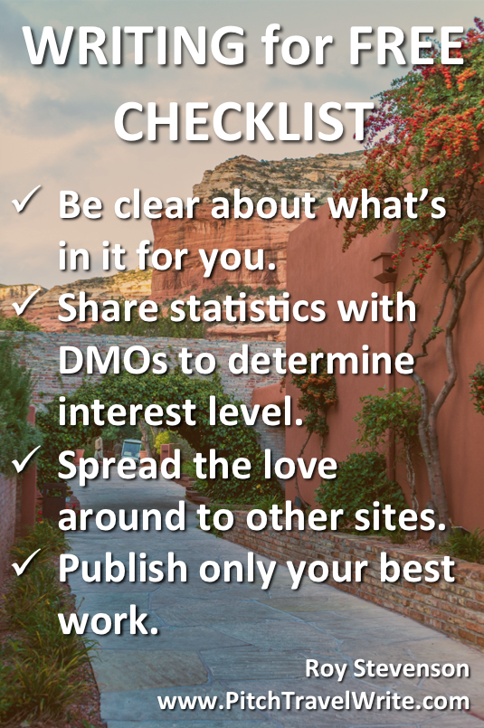 writing for free checklist for travel writers
