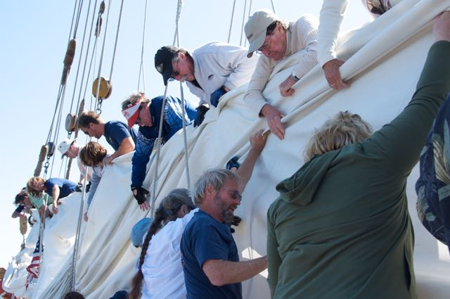 working the sails on Schooner Zodiac