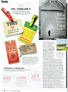 front of book example from Travel & Leisure magazine