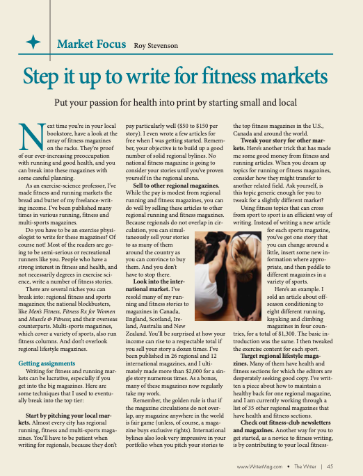 writing for fitness and health magazines
