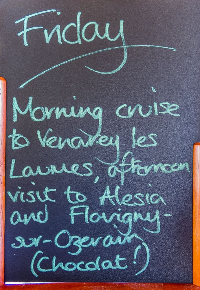 Chalkboard with our daily menu on the luxury barge cruise.