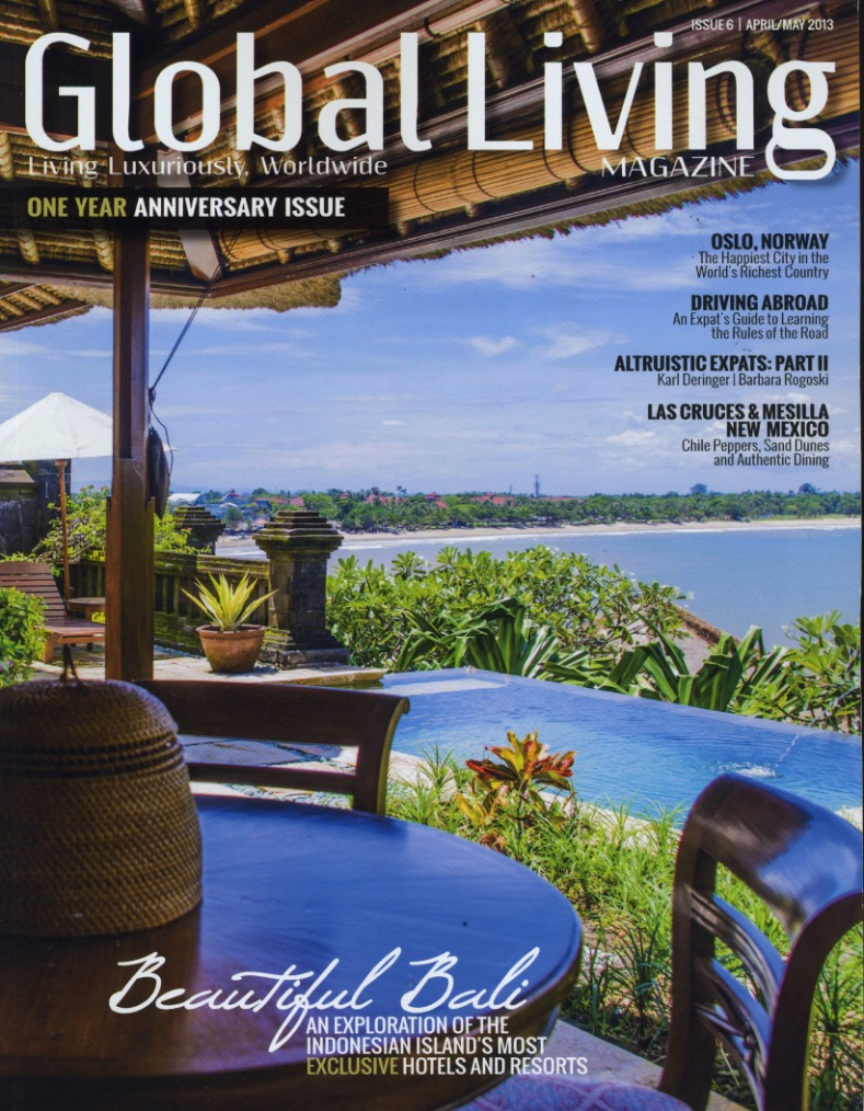 Global Living expat magazine cover in 2013