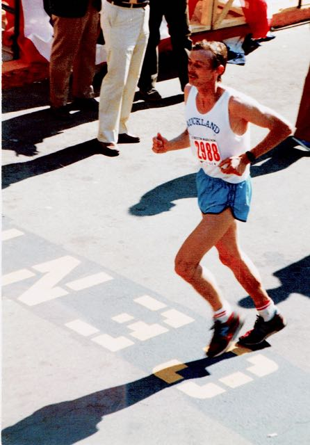 Roy running the Boston marathon in the early '80s.