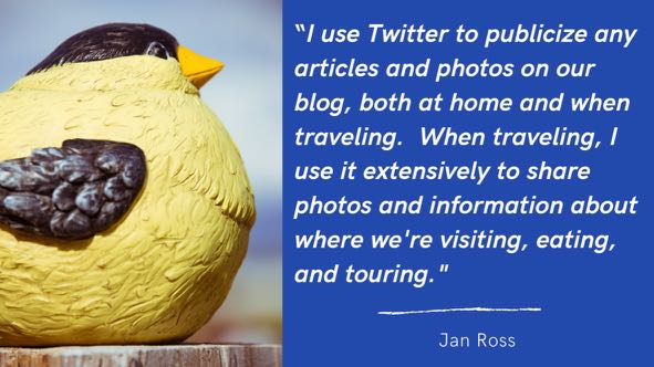 travel writers can use twitter to tell people about what destinations they visit and what they do