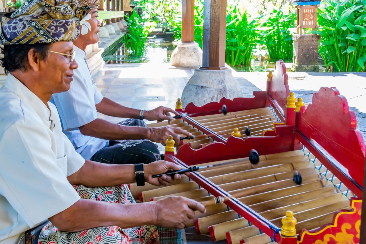 Men playing gamelan in Bali