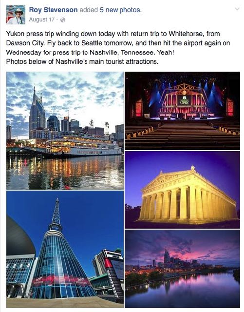 Facebook post with photos about press trip to Nashville