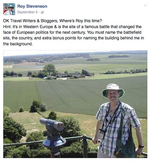 Here's one of my where's Roy? Facebook posts, a fun diversion but still about social media and travel writing.