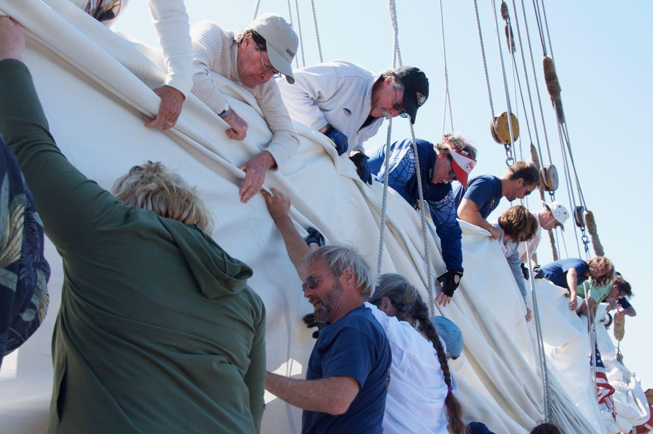 volunteer crew working the sails on the Schooner Zodiac