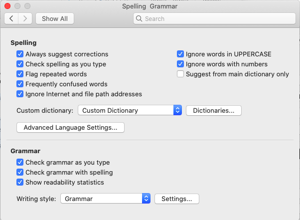 set up preferences to include a grammar check and readability statistics