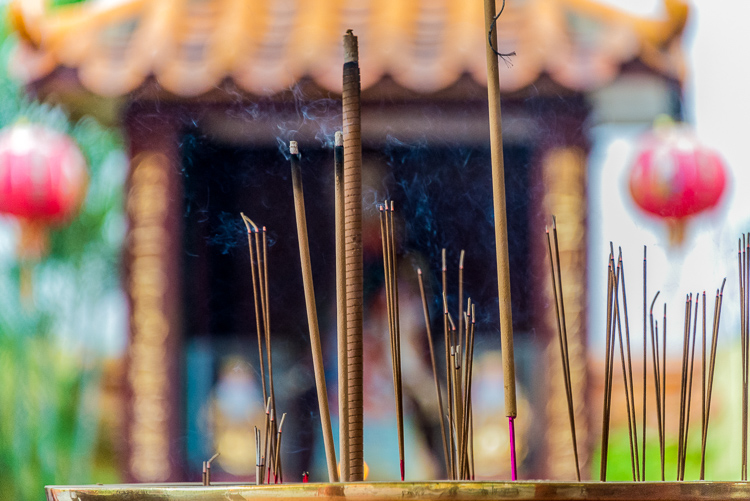 temple and burning incense