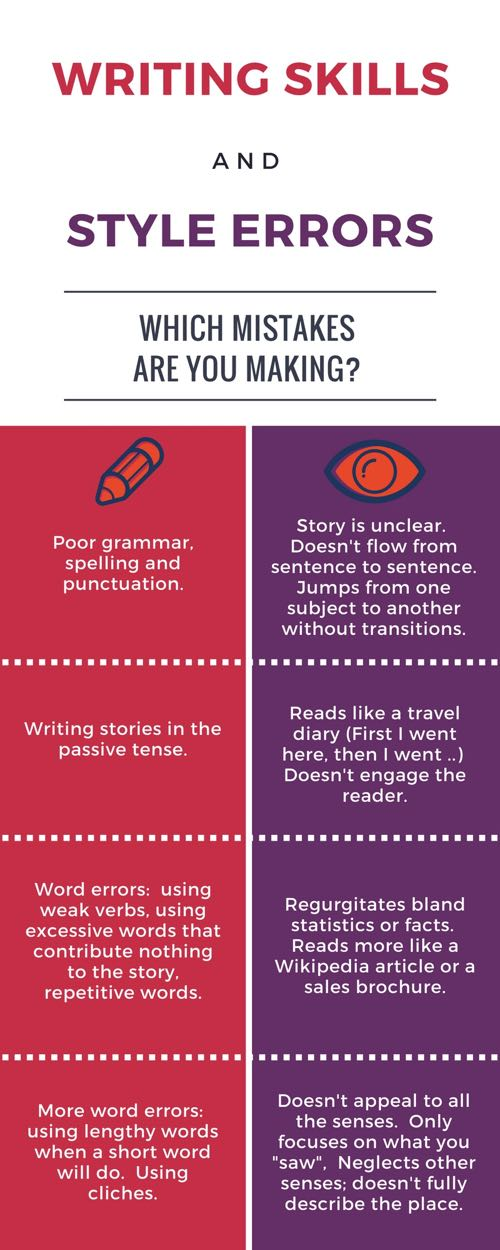 writing skills and style error infographic relates to